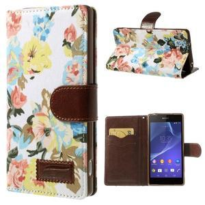 Květinové pouzdro na mobil Sony Xperia Z2 - bílé - 1