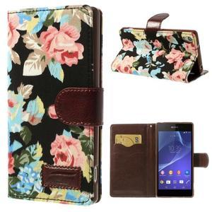 kvetinové puzdro pre mobil Sony Xperia Z2 - čierne - 1