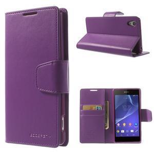 Sonata PU kožené puzdro pre mobil Sony Xperia Z2 - fialové - 1
