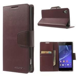 Sonata PU kožené puzdro pre mobil Sony Xperia Z2 - vínovej - 1