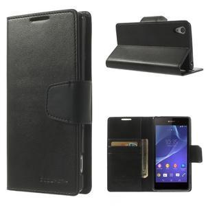Sonata PU kožené pouzdro na mobil Sony Xperia Z2 - černé - 1