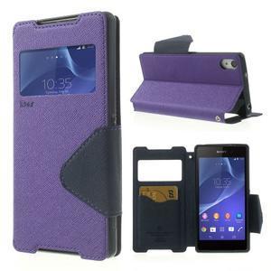 Okýnkové puzdro pre mobil Sony Xperia Z2 - fialové - 1