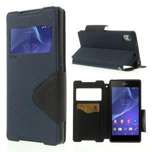 Okýnkové puzdro pre mobil Sony Xperia Z2 - tmavomodré - 1