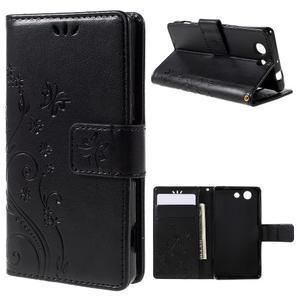Butterfly PU kožené puzdro pre mobil Sony Xperia Z3 Compact - čierne - 1