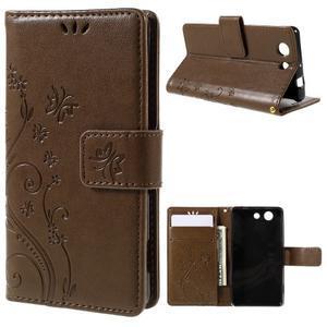Butterfly PU kožené pouzdro na mobil Sony Xperia Z3 Compact - coffee - 1