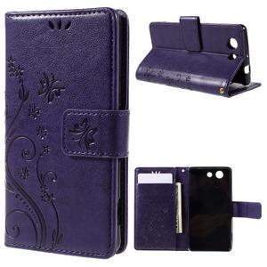 Butterfly PU kožené puzdro pre mobil Sony Xperia Z3 Compact - fialové - 1