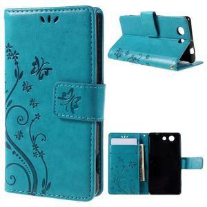 Butterfly PU kožené puzdro pre mobil Sony Xperia Z3 Compact - modré - 1