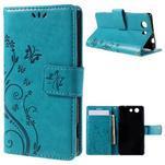 Butterfly PU kožené puzdro pre mobil Sony Xperia Z3 Compact - modré - 1/7