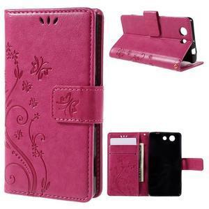 Butterfly PU kožené puzdro pre mobil Sony Xperia Z3 Compact - rose - 1