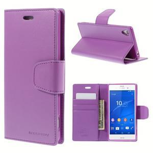 Sonata PU kožené pouzdro na mobil Sony Xperia Z3 - fialové - 1