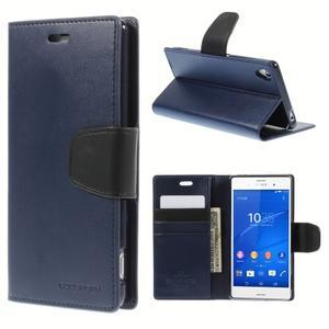 Sonata PU kožené pouzdro na mobil Sony Xperia Z3 - tmavěmodré - 1