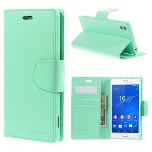 Sonata PU kožené puzdro pre mobil Sony Xperia Z3 - azurové - 1