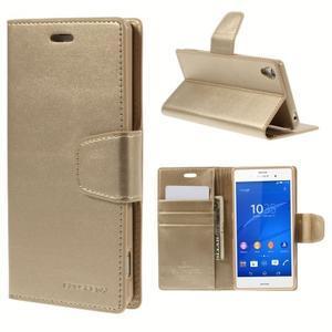 Sonata PU kožené puzdro pre mobil Sony Xperia Z3 - zlaté - 1