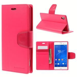 Sonata PU kožené puzdro pre mobil Sony Xperia Z3 - rose - 1