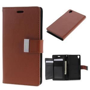 Luxury PU kožené pouzdro na mobil Sony Xperia Z3 - hnědé - 1