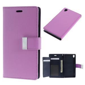 Luxury PU kožené pouzdro na mobil Sony Xperia Z3 - fialové - 1