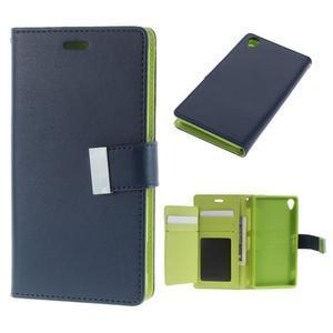 Luxury PU kožené puzdro pre mobil Sony Xperia Z3 - tmavomodré - 1