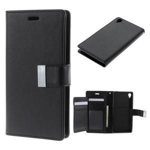 Luxury PU kožené pouzdro na mobil Sony Xperia Z3 - černé - 1