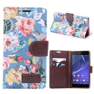 kvetinové puzdro pre mobil Sony Xperia Z3 - modré - 1