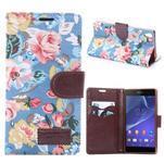 kvetinové puzdro pre mobil Sony Xperia Z3 - modré - 1/7