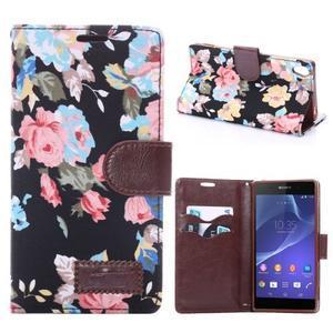 kvetinové puzdro pre mobil Sony Xperia Z3 - čierne - 1