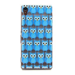 Gélový obal pre mobil Sony Xperia Z3 - modré malej sovy - 1