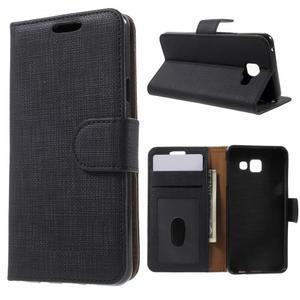 Cloth peňaženkové puzdro pre mobil Samsung Galaxy A3 (2016) - čierne - 1