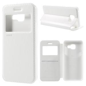 PU kožené puzdro s okienkom pre Samsung Galaxy A3 (2016) - biele - 1