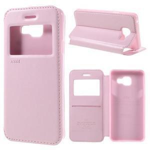 PU kožené puzdro s okienkom pre Samsung Galaxy A3 (2016) - ružové - 1