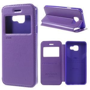 PU kožené puzdro s okienkom pre Samsung Galaxy A3 (2016) - fialové - 1