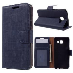 Cloth peněženkové pouzdro na mobil Samsung Galaxy A3 (2016) - tmavěmodré - 1