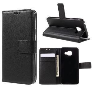 Liched koženkové puzdro pre Samsung Galaxy A3 (2016) - čierne - 1