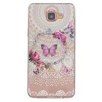 Slim priehľadný gélový obal pre Samsung Galax A3 (2016) - kvetinový motýl - 1/4