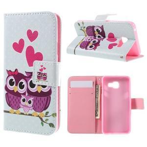 Standy peňaženkové puzdro pre Samsung Galaxy A3 (2016) - soví rodinka - 1