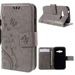 Butterfly puzdro pre mobil Samsung Galaxy Trend 2 Lite - šedé - 1