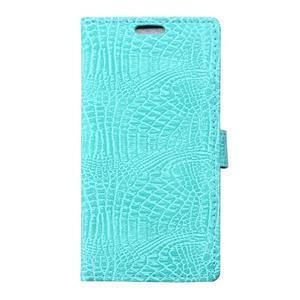 Croco peňaženkové puzdro pre Samsung Galaxy Trend 2 Lite - cyan - 1