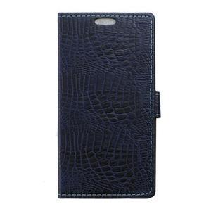 Croco peněženkové pouzdro na Samsung Galaxy Trend 2 Lite - tmavěmodré - 1