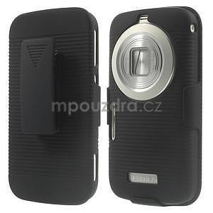 Odolný pogumovaný kryt so stojanom pre Samsung Galaxy K Zoom - čierny - 1