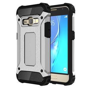 Armory odolný obal pre mobil Samsung Galaxy J1 (2016) - strieborny - 1