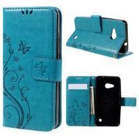 Butterfly koženkové puzdro na Microsoft Lumia 550 - modré - 1/7