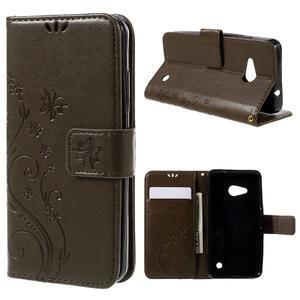 Butterfly koženkové puzdro na Microsoft Lumia 550 - hnedé - 1