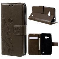 Butterfly koženkové puzdro na Microsoft Lumia 550 - hnedé - 1/3