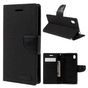 Canvas textilné/koženkové puzdro pre Sony Xperia M4 Aqua - čierne - 1
