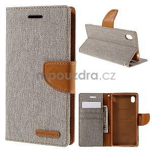 Canvas textilní/koženkové pouzdro na Sony Xperia M4 Aqua - šedé - 1