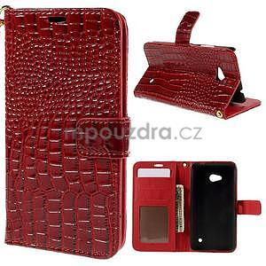 Croco peňaženkové puzdro s krokodílím motívom na Microsoft Lumia 640 - červené - 1