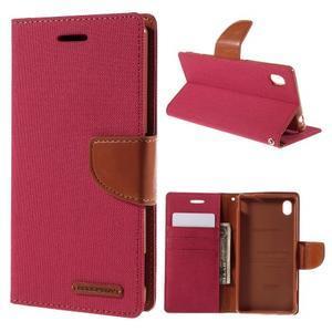 Canvas textilné/koženkové puzdro pre Sony Xperia M4 Aqua - červené - 1
