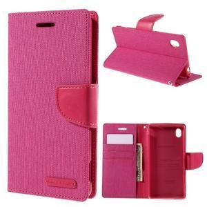 Canvas textilní/koženkové pouzdro na Sony Xperia M4 Aqua - rose - 1