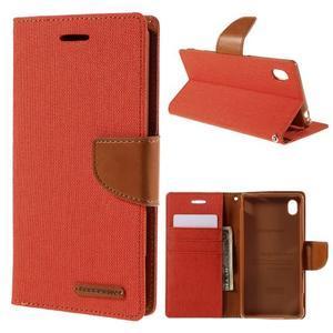 Canvas textilné/koženkové puzdro pre Sony Xperia M4 Aqua - oranžové - 1