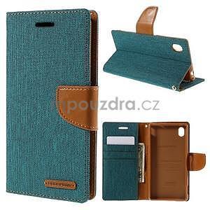 Canvas textilné / koženkové puzdro pre Sony Xperia M4 Aqua - zelenomodré - 1