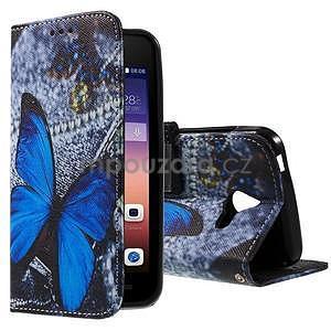 Štýlové puzdro na mobil Huawei Ascend Y550 - modrý motýľ - 1